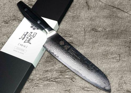 Yaxell YO-U 37-Layer VG-10 Damascus Hammered Japanese Chefs Santoku Knife 165mm