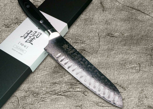 Yaxell YO-U 37-Layer VG-10 Damascus Hammered Japanese Chefs Dimpled Santoku Knife 180mm