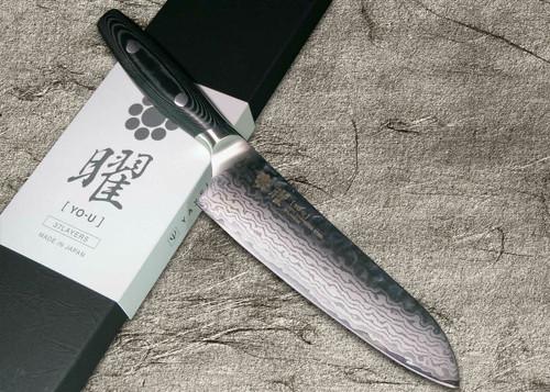 Yaxell YO-U 37-Layer VG-10 Damascus Hammered Japanese Chefs Santoku Knife 145mm