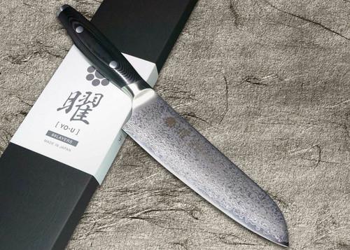 Yaxell YO-U 69-Layer VG-10 Damascus Japanese Chefs Santoku Knife 165mm