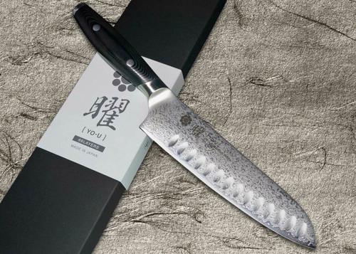 Yaxell YO-U 69-Layer VG-10 Damascus Japanese Chefs Dimpled Santoku Knife 180mm