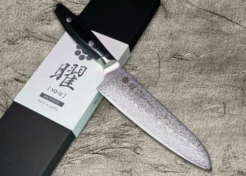 Yaxell YO-U 69-Layer VG-10 Damascus Japanese Chefs Santoku Knife 145mm