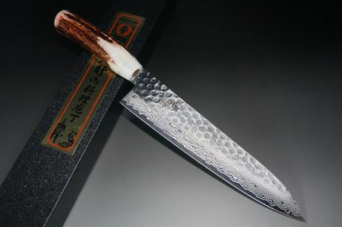 Sakai Takayuki 45-Layer AUS10 Damascus DHW Japanese Chefs Gyuto Knife 210mm with White Antler Handle