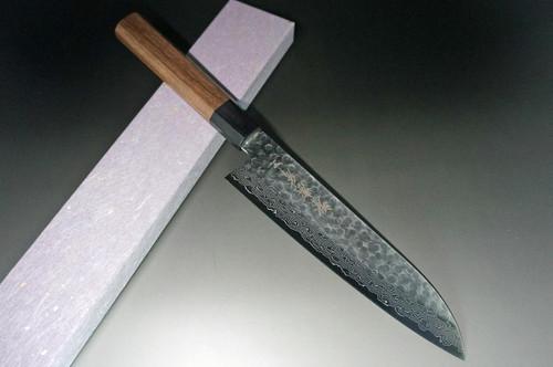 Sakai Takayuki 45-Layer Damascus Hammered WA Japanese Chefs Santoku Knife 180mm
