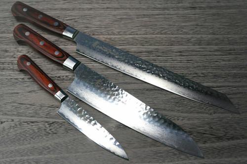 Sakai Takayuki 33-Layer VG10 Damascus Hammered Japanese Chefs Knife SET Gyuto 210mm - Kiritsuke Yanagiba 270mm -Petty 120mm