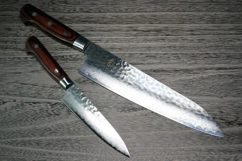 Sakai Takayuki 33-Layer VG10 Damascus Hammered Japanese Chefs Knife SET Gyuto 210mm - Petty 120mm