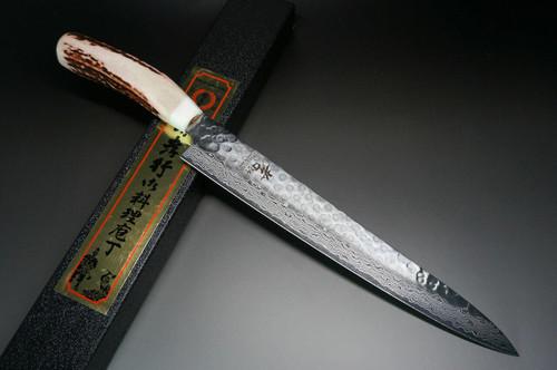 Sakai Takayuki 45-Layer AUS10 Damascus DHW Japanese Chefs SlicerSujihiki 240mm with White Antler Handle