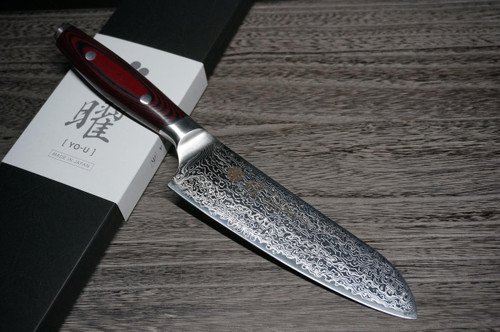 Yaxell YO-U 101-Layer SG2 Damascus Japanese Chefs Santoku Knife 165mm
