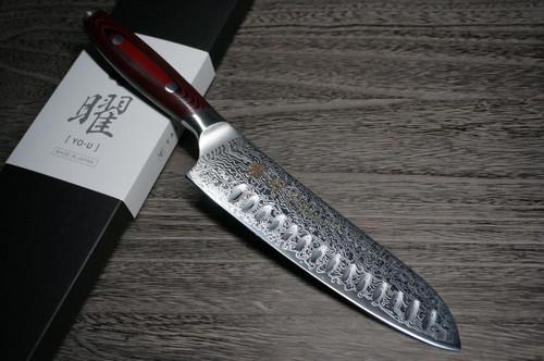 Yaxell YO-U 101-Layer SG2 Damascus Japanese Chefs Dimpled Santoku Knife 180mm