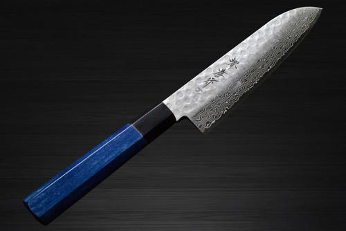Sakai Takayuki 45-Layer Damascus Indigo Japan-Blue Chefs Santoku Knife 180mm