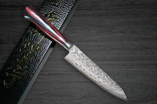 Yoshimi Kato 63 Layer VG10 Black Damascus PW Japanese Chefs Petty KnifeUtility 120mm with Laminated Wood Handle