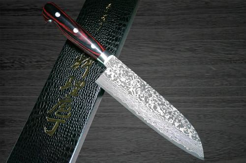 Yoshimi Kato 63 Layer VG10 Black Damascus PW Japanese Chefs Santoku Knife 175mm with Laminated Wood Handle