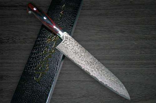 Yoshimi Kato 63 Layer VG10 Black Damascus PW Japanese Chefs Gyuto Knife 210mm with Laminated Wood Handle