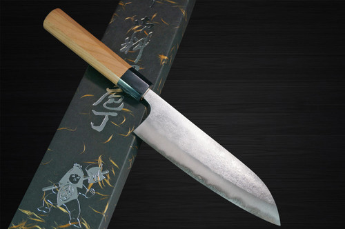 Yoshimi Kato Aogami Super Clad Nashiji AC Japanese Chefs Santoku Knife 170mm with Black Cherry Octagonal Handle