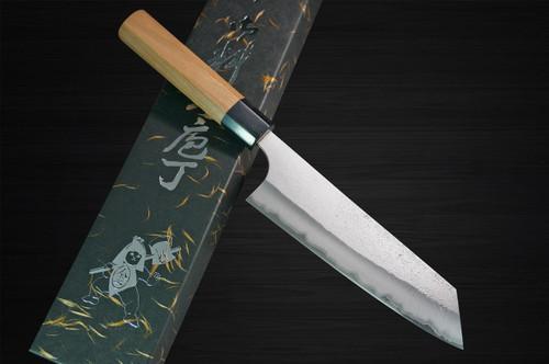 Yoshimi Kato Aogami Super Clad Nashiji AC Japanese Chefs Bunka Knife 170mm with Black Cherry Octagonal Handle