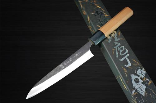 Yoshimi Kato Aogami Super Clad Kurouchi AC Japanese Chefs Petty KnifeUtility 120mm with Black Cherry Octagonal Handle
