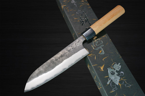 Yoshimi Kato Aogami Super Clad Kurouchi AC Japanese Chefs Santoku Knife 170mm with Black Cherry Octagonal Handle