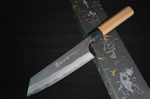 Yoshimi Kato Aogami Super Clad Kurouchi AC Japanese Chefs Bunka Knife 170mm with Black Cherry Octagonal Handle