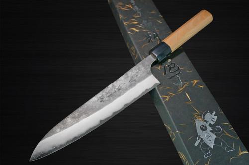 Yoshimi Kato Aogami Super Clad Kurouchi AC Japanese Chefs Gyuto Knife 180mm with Black Cherry Octagonal Handle