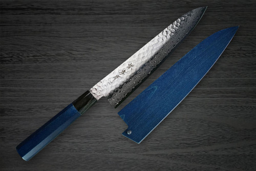 Sakai Takayuki 45-Layer Damascus Indigo Japan-Blue Chefs Gyuto Knife and Saya SET 240mm