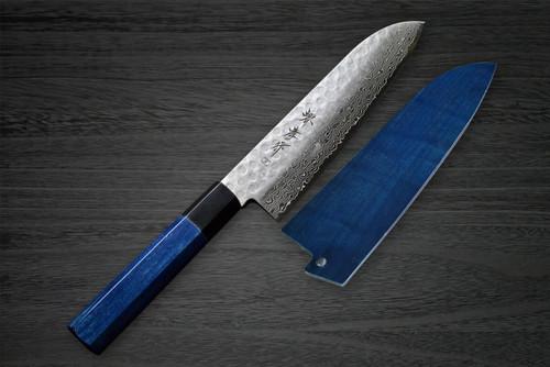Sakai Takayuki 45-Layer Damascus Indigo Japan-Blue Chefs Santoku Knife and Saya SET 180mm