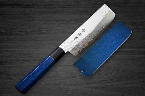 Sakai Takayuki 45-Layer Damascus Indigo Japan-Blue Chefs Vegetable Knife and Saya SET 160mm
