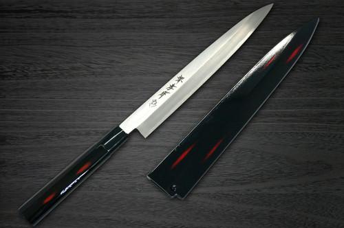 Sakai Takayuki Shikisai Kasumitogi White steel Japanese Chefs YanagibaSashimi 240mm Akebono with Saya Sheath