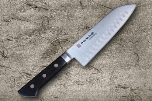 Fujiwara Kanefusa Molybdenum Stainless Dimples Japanese Chefs Santoku Knife 180mm