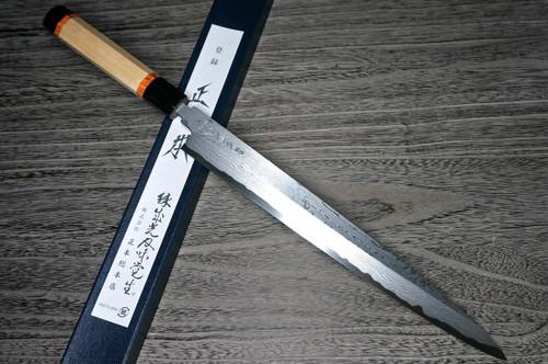Masamoto KH Damascus Honkasumi Gyokusei-ko Japanese Chefs YanagibaSashimi 330mm KH0433 with Octagonal Sourinkaku Handle