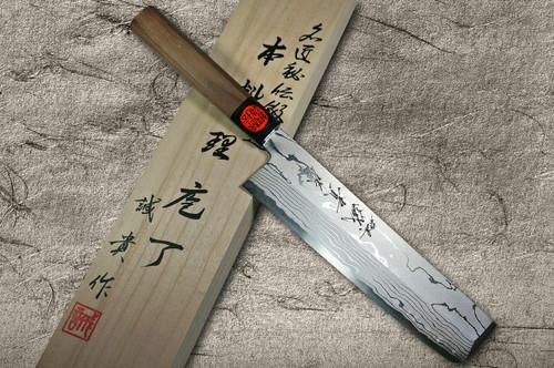 Shigeki Tanaka Aogami No.2 Damascus Japanese WN Chefs UsubaVegetable 180mm with Walnut Handle
