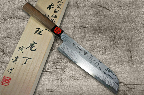 Shigeki Tanaka Aogami No.2 Damascus Japanese WN Chefs Kamagata-UsubaVegetable 180mm with Walnut Handle