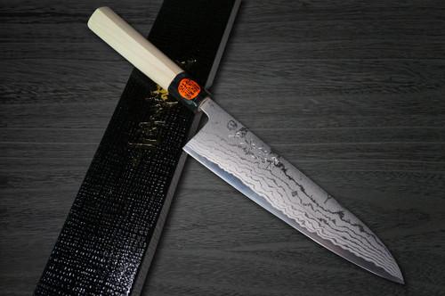 Shigeki Tanaka Aogami No.2 Damascus MB Japanese Chefs Gyuto Knife 210mm with Magnolia Wood Handle