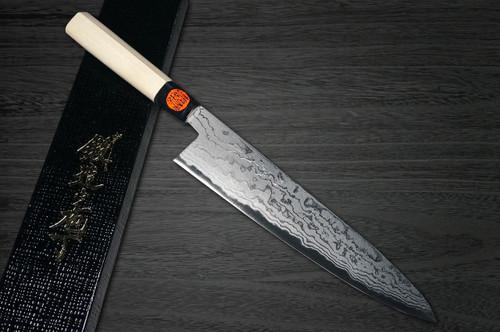 Shigeki Tanaka Aogami No.2 Damascus MB Japanese Chefs Gyuto Knife 240mm with Magnolia Wood Handle