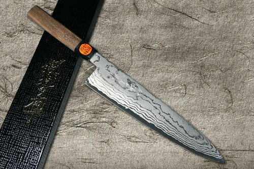 Shigeki Tanaka Aogami No.2 Damascus WN Japanese Chefs Gyuto Knife 240mm with Walnut Handle
