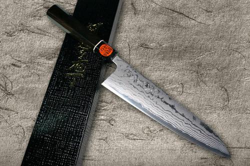 Shigeki Tanaka Aogami No.2 Damascus EB Japanese Chefs Gyuto Knife 210mm with Ebony Handle