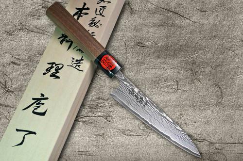 Shigeki Tanaka 33-Layer R2SG2 Damascus Harukaze Japanese Chefs Petty KnifeUtility 135mm with Walnut Handle