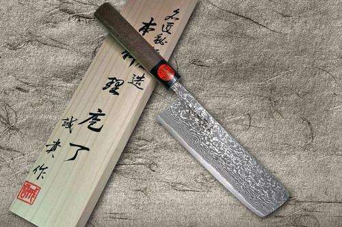 Shigeki Tanaka 33-Layer R2SG2 Damascus Harukaze Japanese Chefs NakiriVegetable 165mm with Walnut Handle