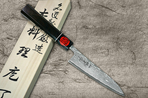 Shigeki Tanaka 33-Layer R2SG2 Damascus Habakiri Japanese Chefs Petty KnifeUtility 135mm with Ebony Handle