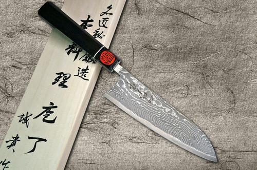 Shigeki Tanaka 33-Layer R2SG2 Damascus Habakiri Japanese Chefs Santoku Knife 165mm with Ebony Handle