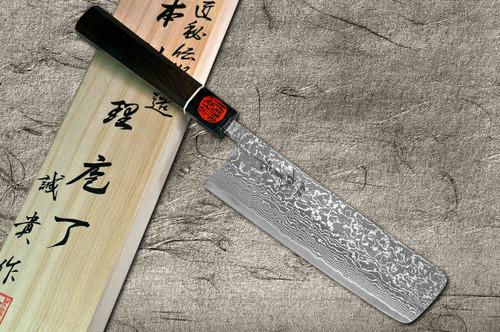 Shigeki Tanaka 33-Layer R2SG2 Damascus Habakiri Japanese Chefs NakiriVegetable 165mm with Ebony Handle