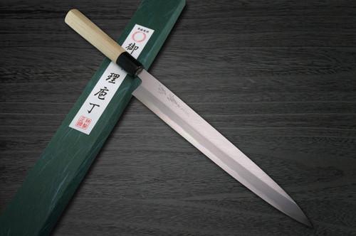 Yoshihiro White No.2 Supreme Jousaku JCHC Japanese Chefs YanagibaSashimi 330mm with Magnolia Wood Handle