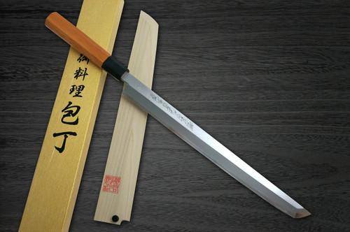 Yoshihiro Aogami No.1 Wave Aonamiuchi B1HC-Y Japanese Chefs Sakimaru-TakohikiSashimi 300mm with Saya Sheath and Yew Handle