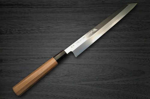 Yoshihiro Aogami No.1 Wave Aonamiuchi B1HC-Y Japanese Chefs Kiritsuke-YanagibaSashimi 330mm with Saya Sheath and Yew Handle