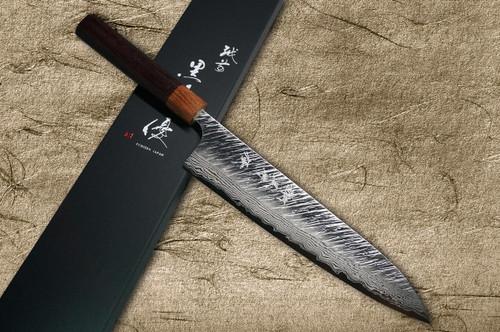 Yu Kurosaki VG10 Damascus FUJIN WA RS8H Japanese Chefs Gyuto Knife 240mm with Brown-Ring Octagonal Handle