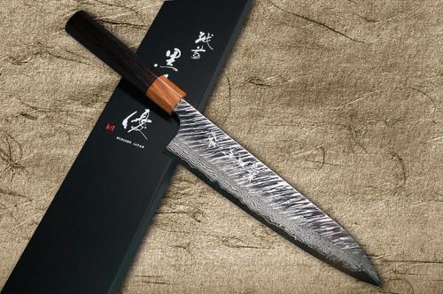 Yu Kurosaki VG10 Damascus FUJIN WA RS8H Japanese Chefs Gyuto Knife 210mm with Brown-Ring Octagonal Handle