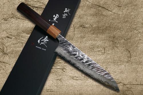 Yu Kurosaki VG10 Damascus FUJIN WA RS8H Japanese Chefs Gyuto Knife 180mm with Brown-Ring Octagonal Handle