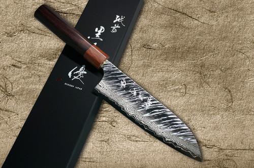 Yu Kurosaki VG10 Damascus FUJIN WA RS8H Japanese Chefs Santoku Knife 170mm with Brown-Ring Octagonal Handle