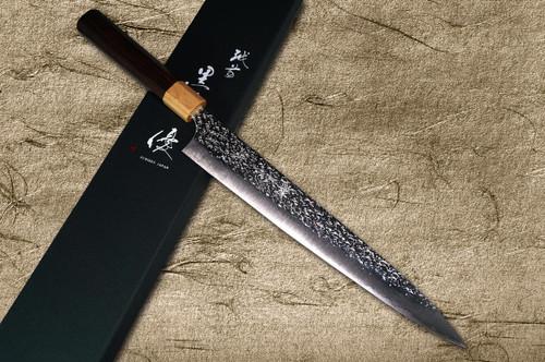 Yu Kurosaki R2SG2 Hammered SHIZUKU WA RS8P Japanese Chefs SlicerSujihiki 270mm with White-Ring Octagonal Handle