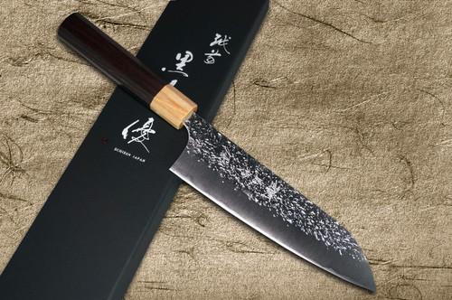 Yu Kurosaki R2SG2 Hammered SHIZUKU WA RS8P Japanese Chefs Santoku Knife 170mm with White-Ring Octagonal Handle