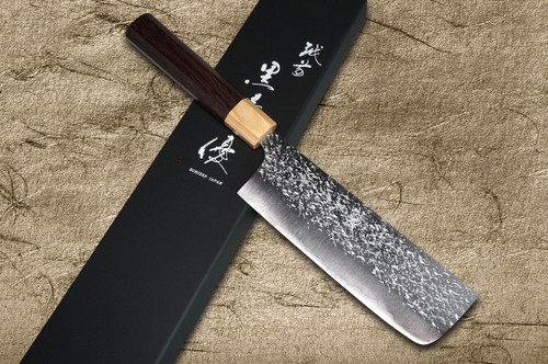 Yu Kurosaki R2SG2 Hammered SHIZUKU WA RS8P Japanese Chefs NakiriVegetable 165mm with White-Ring Octagonal Handle